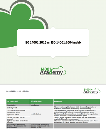 ISO 140012015 vs ISO 140012004 matrix