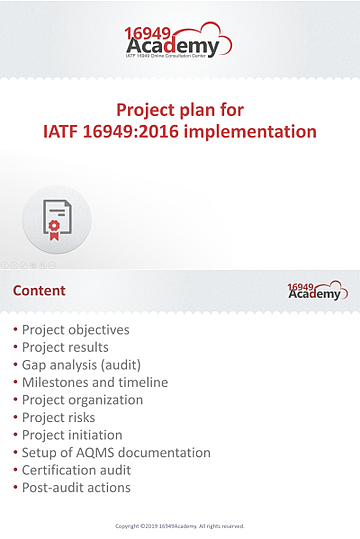 Project plan for IATF 16949:2016 implementation