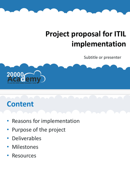 Project Proposal For Itil Implementation