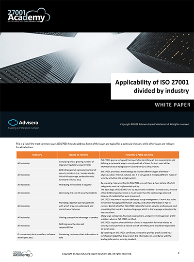 Applicability of ISO 27001 divided by industry