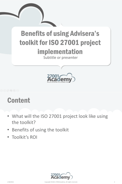 Benefits of using Advisera's toolkit for ISO 27001 project implementation