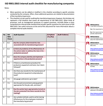 ISO 9001 internal audit checklist for manufacturing companies