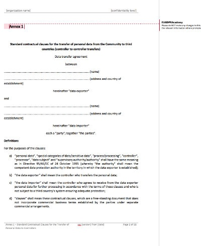 Standard Contractual Clauses Annexes