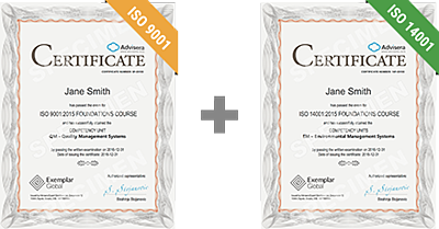 ISO 9001 + ISO 14001 Foundations certificates