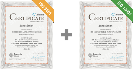 ISO 9001 + ISO 14001 Certificate